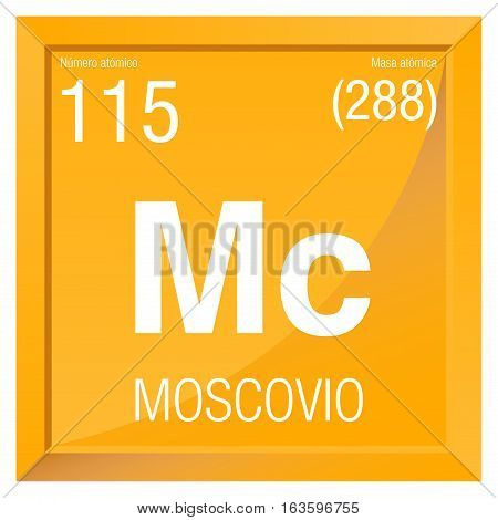Moscovio symbol - Moscovium in Spanish language - Element number 115 of the Periodic Table of the Elements - Chemistry -  Square frame with yellow background