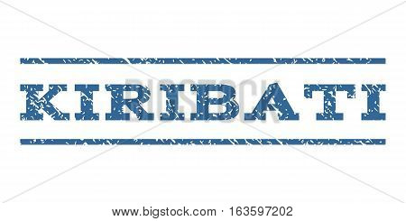 Kiribati watermark stamp. Text caption between horizontal parallel lines with grunge design style. Rubber seal stamp with dust texture. Vector cobalt color ink imprint on a white background.