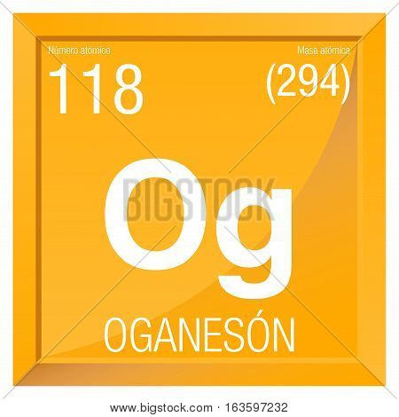 Oganeson symbol - Oganesson in Spanish language - Element number 118 of the Periodic Table of the Elements - Chemistry -  Square frame with yellow background