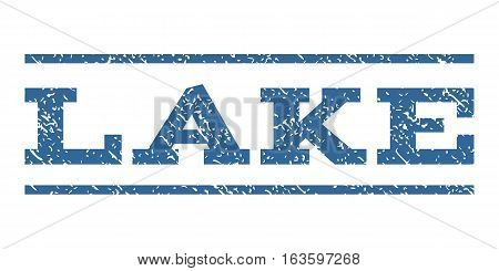 Lake watermark stamp. Text caption between horizontal parallel lines with grunge design style. Rubber seal stamp with dust texture. Vector cobalt color ink imprint on a white background.