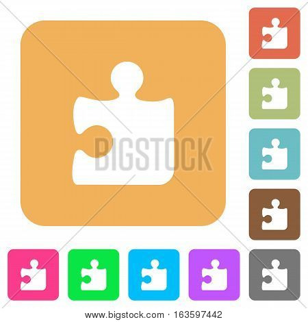 Puzzle icons on rounded square vivid color backgrounds.