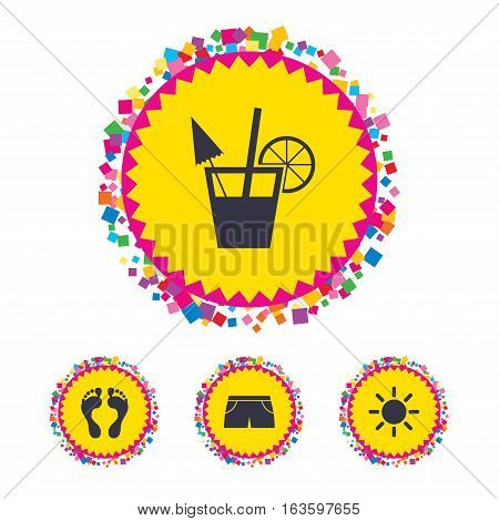 Web buttons with confetti pieces. Beach holidays icons. Cocktail, human footprints and swimming trunks signs. Summer sun symbol. Bright stylish design. Vector