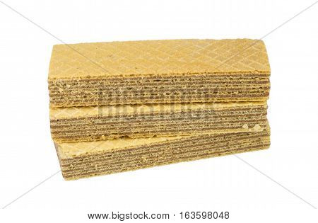 the wafer cream on a white background