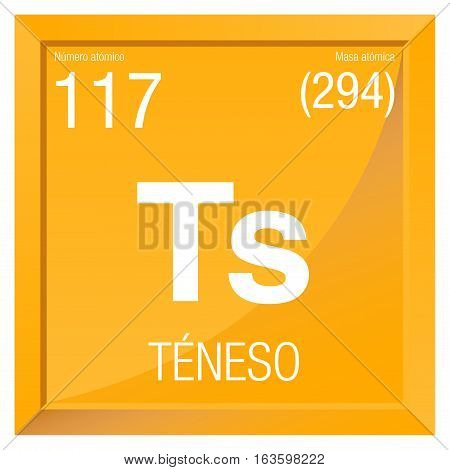 Teneso symbol - Tennessine in Spanish language - Element number 117 of the Periodic Table of the Elements - Chemistry -  Square frame with yellow background