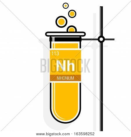 Nihonium symbol on label in a yellow test tube with holder. Element number 113 of the Periodic Table of the Elements - Chemistry