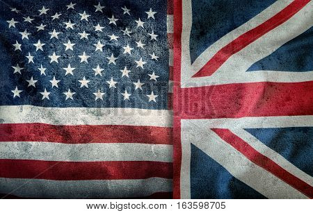 Mixed Flags of the USA and the UK. Union Jack flag.Flags of the USA and the UK Divided vertically.