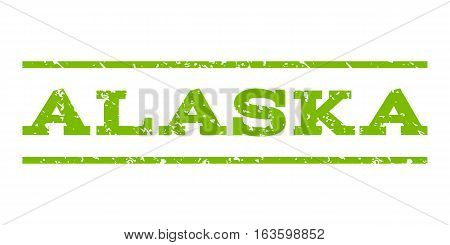 Alaska watermark stamp. Text tag between horizontal parallel lines with grunge design style. Rubber seal stamp with dust texture. Vector eco green color ink imprint on a white background.
