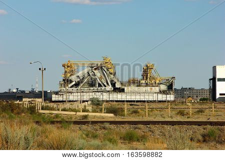Kazakhstan. Cosmodrome Baikonur. installation of a platform for the launch of space rockets