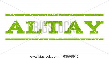 Altay watermark stamp. Text tag between horizontal parallel lines with grunge design style. Rubber seal stamp with dust texture. Vector eco green color ink imprint on a white background.