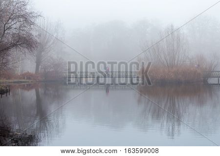 People take a stroll in the forest in misty foggy weather walking on wooden footbridge over a pond. Reflections of reed bush and trees on still water surface.