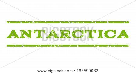 Antarctica watermark stamp. Text caption between horizontal parallel lines with grunge design style. Rubber seal stamp with dust texture. Vector eco green color ink imprint on a white background.