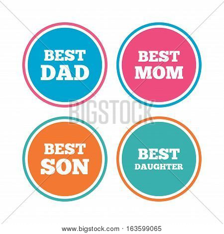 Best mom and dad, son and daughter icons. Award symbols. Colored circle buttons. Vector