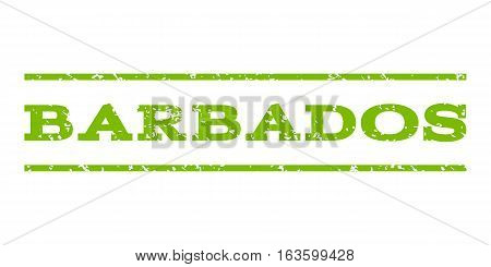 Barbados watermark stamp. Text tag between horizontal parallel lines with grunge design style. Rubber seal stamp with dust texture. Vector eco green color ink imprint on a white background.