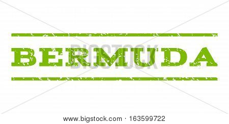 Bermuda watermark stamp. Text tag between horizontal parallel lines with grunge design style. Rubber seal stamp with unclean texture. Vector eco green color ink imprint on a white background.