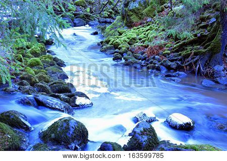 Mystical small rapids, stones covered with moss in forest. Long exposure.