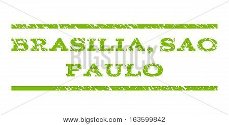 Brasilia, Sao Paulo watermark stamp. Text caption between horizontal parallel lines with grunge design style. Rubber seal stamp with unclean texture.