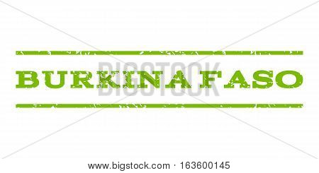Burkina Faso watermark stamp. Text tag between horizontal parallel lines with grunge design style. Rubber seal stamp with scratched texture. Vector eco green color ink imprint on a white background.