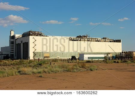 Kazakhstan. Baikonur Cosmodrome. destroyed building to test space shuttle Buran
