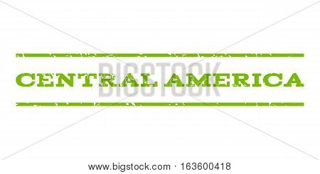 Central America watermark stamp. Text caption between horizontal parallel lines with grunge design style. Rubber seal stamp with dust texture. Vector eco green color ink imprint on a white background.