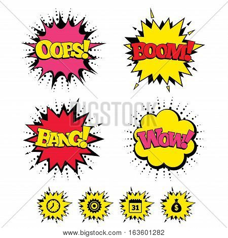 Comic Boom, Wow, Oops sound effects. Business icons. Calendar and mechanical clock signs. Dollar money bag and gear symbols. Speech bubbles in pop art. Vector