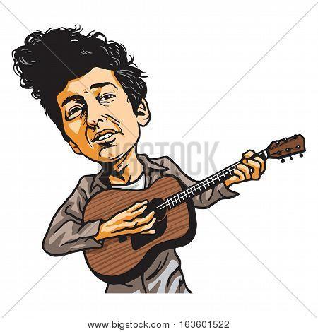 Bob Dylan Playing Guitar Vector Cartoon Portrait Illustration