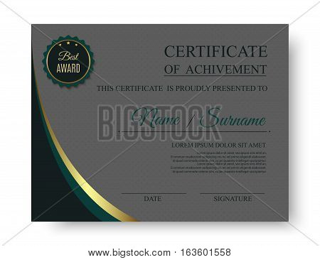 Creative luxury certificate of achivement template with award badge. Vector eps10