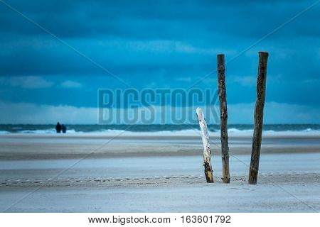 Poles on the North Sea island Amrum Germany.