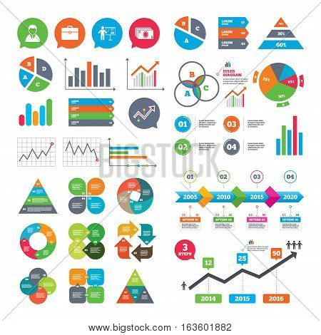 Business charts. Growth graph. Businessman icons. Human silhouette and cash money signs. Case and presentation with chart symbols. Market report presentation. Vector