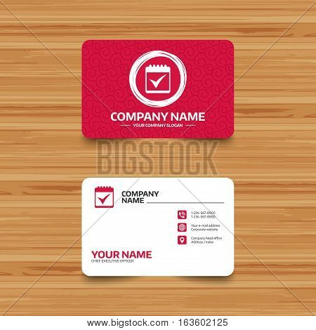 Business card template with texture. Calendar sign icon. Check mark symbol. Phone, web and location icons. Visiting card  Vector
