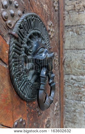 Lion Head Knocker Ancient Knocker bronze handles on old oak door stock photo