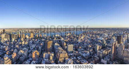 Spectacular Skyline View Of New York In Sunset Light