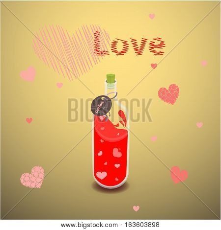 Elixir Of Love With The Label. Illustration