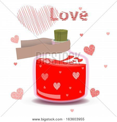Elixir Of Love With The Label And Hearts