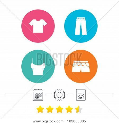 Clothes icons. T-shirt and pants with shorts signs. Swimming trunks symbol. Calendar, cogwheel and report linear icons. Star vote ranking. Vector