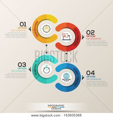 Infographics step by step. Universal abstract element of chart, graph, diagram with 4 steps, options, parts, processes, phase. Vector business template for presentation and training.