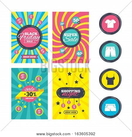 Sale website banner templates. Clothes icons. T-shirt and bermuda shorts signs. Swimming trunks symbol. Ads promotional material. Vector