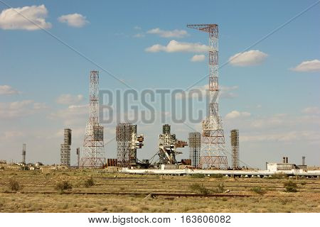 Baikonur Cosmodrome. Kazakhstan. the launch pad of the Space Shuttle Reusable