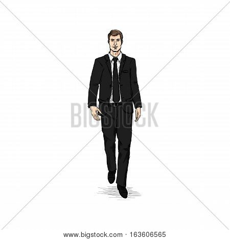 Vector Sketch Men Model In Suit. Business Dress Code