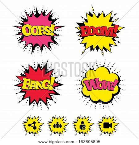 Comic Boom, Wow, Oops sound effects. Group of people and share icons. Add user and video camera symbols. Communication signs. Speech bubbles in pop art. Vector