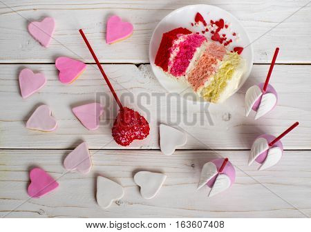Sweet Composition, Cakepops, Cookies And Cake On Plate
