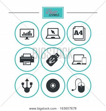 Computer devices icons. Printer, laptop signs. Smartphone, monitor and usb symbols. Round flat buttons with icons. Vector