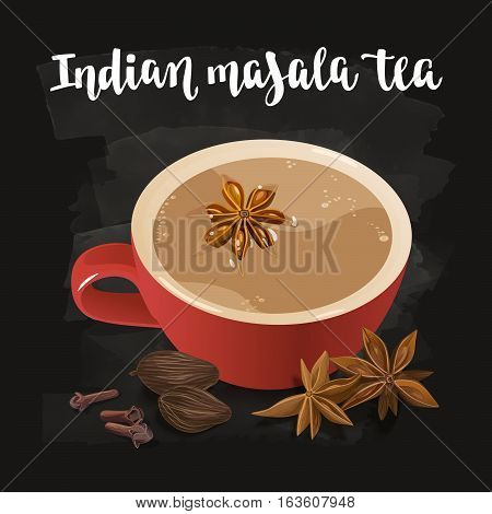 Warming beverage with spices. Decorative vector illustration and handwritten brush lettering for your design. Cup and spices to cook spiced tea on chalkboard background.