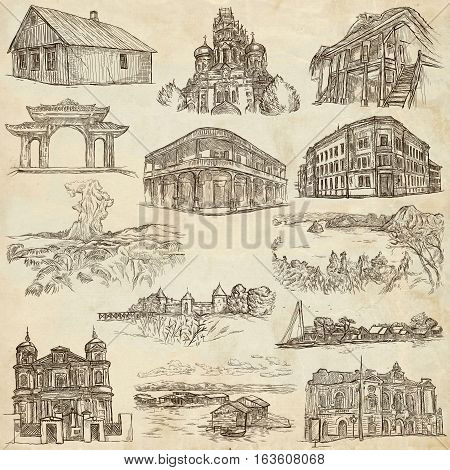 Hand drawn illustratoins of Buildings Places and Architecture around the World. Different styles. Full sized hand drawing collection. Pack of freehand sketches on old paper.