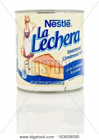 Winneconne WI - 2 November 2016: Can of Nestle La Lechera sweetened condensed milk on an isolated background.