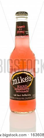 Winneconne WI - 21 December 2016: Bottle of Mike's hard strawberry lemonade on an isolated background.