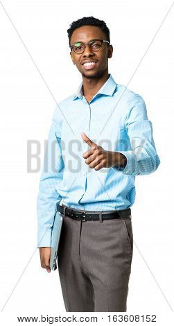 Happy african american college student standing with laptop and finger up on white background