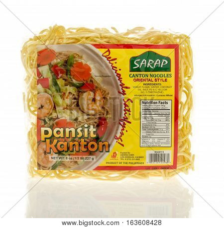Winneconne WI - 22 December 2016: Package or Sarap panit kanton noodles on an isolated background.