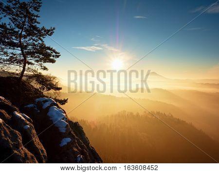 Fall Daybreak. Misty Awakening In Beautiful Hills. Peaks Of Hills