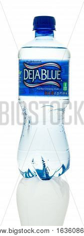 Winneconne WI - 28 December 2016: Bottle of Deja Blue purified drinking water on an isolated background.