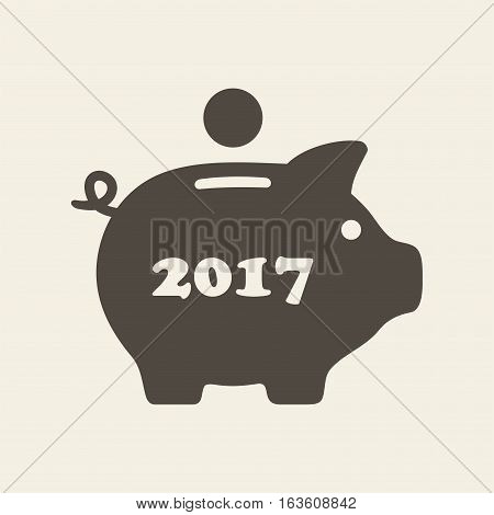 Piggy bank. Vector icon isolated on beige background.